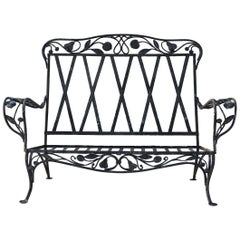 Rare Salterini Della Robbia Collection Wrought Iron Love Seat, circa 1940s, No 1