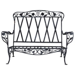 Rare Salterini Della Robbia Collection Wrought Iron Loveseat, circa 1940s, No 2