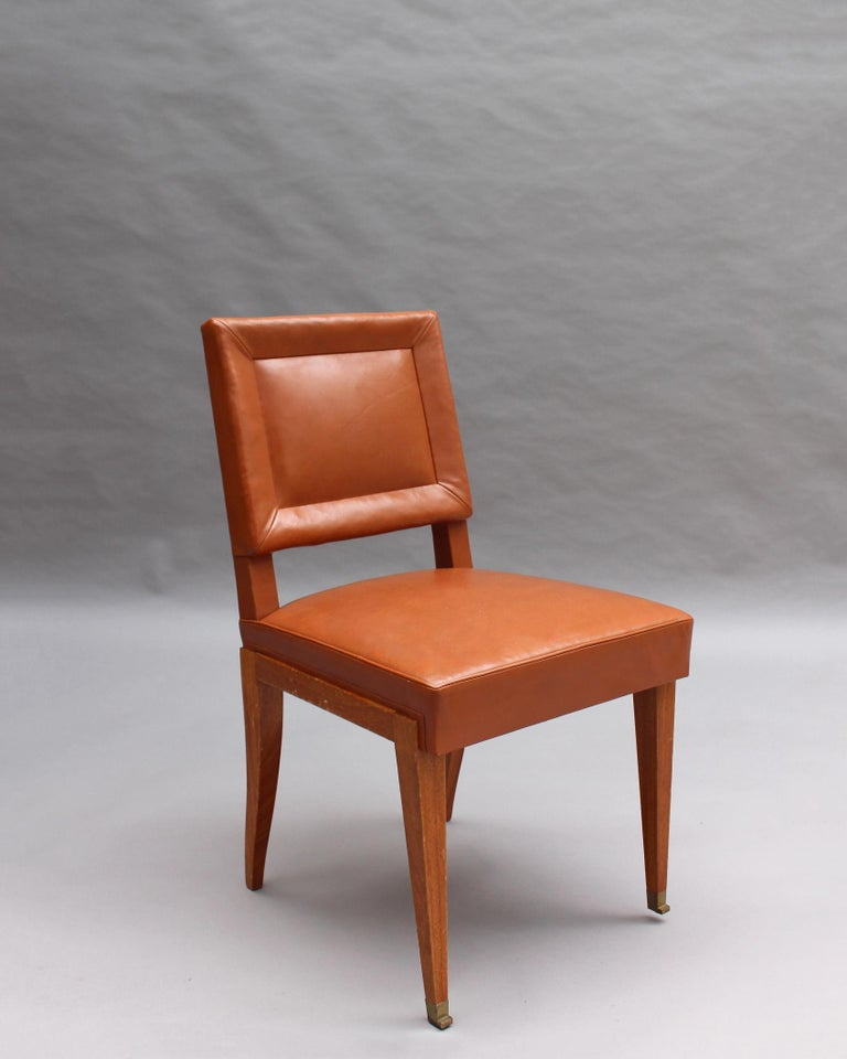 Rare Set of 10 Leather and Mahogany Chairs by Jacques Quinet For Sale 4