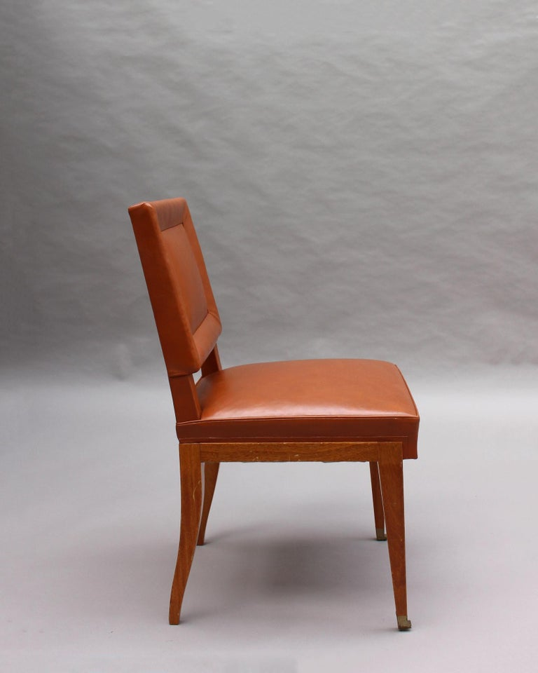 Rare Set of 10 Leather and Mahogany Chairs by Jacques Quinet For Sale 5