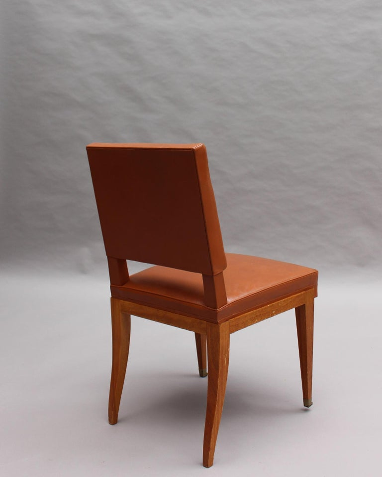 Rare Set of 10 Leather and Mahogany Chairs by Jacques Quinet For Sale 6