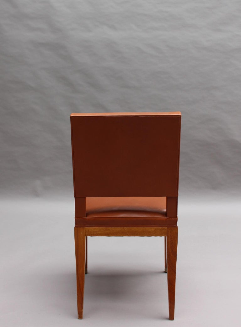 Rare Set of 10 Leather and Mahogany Chairs by Jacques Quinet For Sale 7