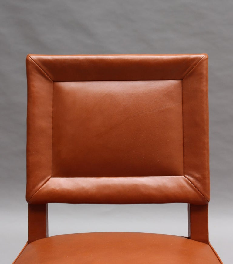 Rare Set of 10 Leather and Mahogany Chairs by Jacques Quinet For Sale 8