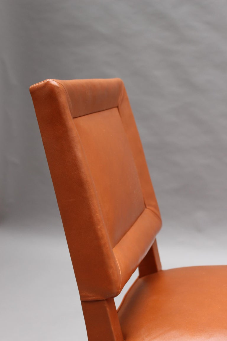 Rare Set of 10 Leather and Mahogany Chairs by Jacques Quinet For Sale 9