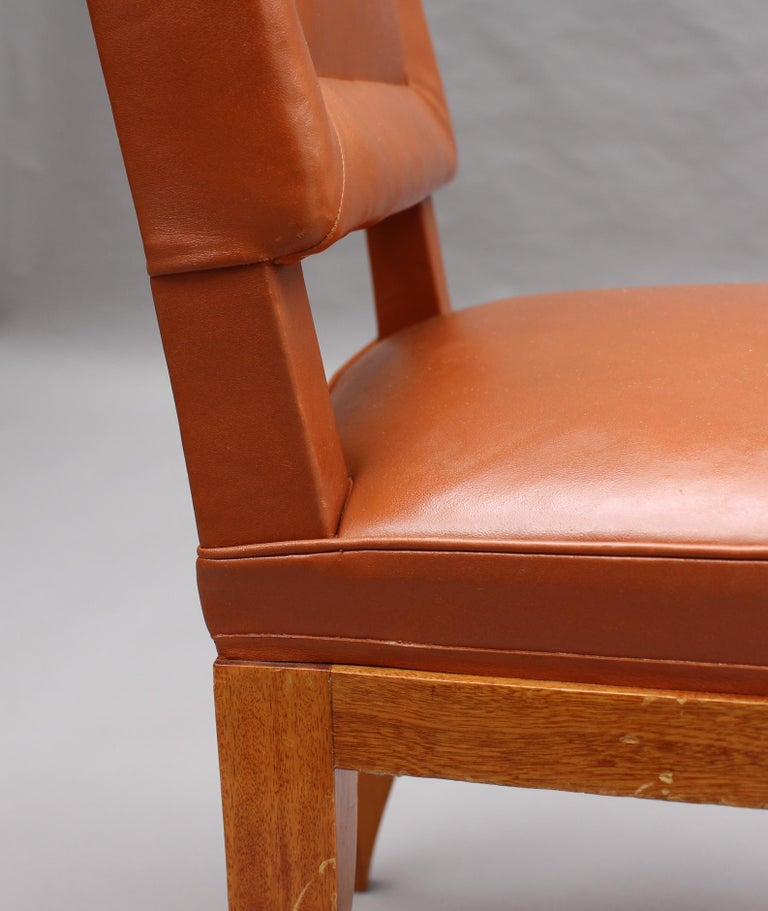 Rare Set of 10 Leather and Mahogany Chairs by Jacques Quinet For Sale 10