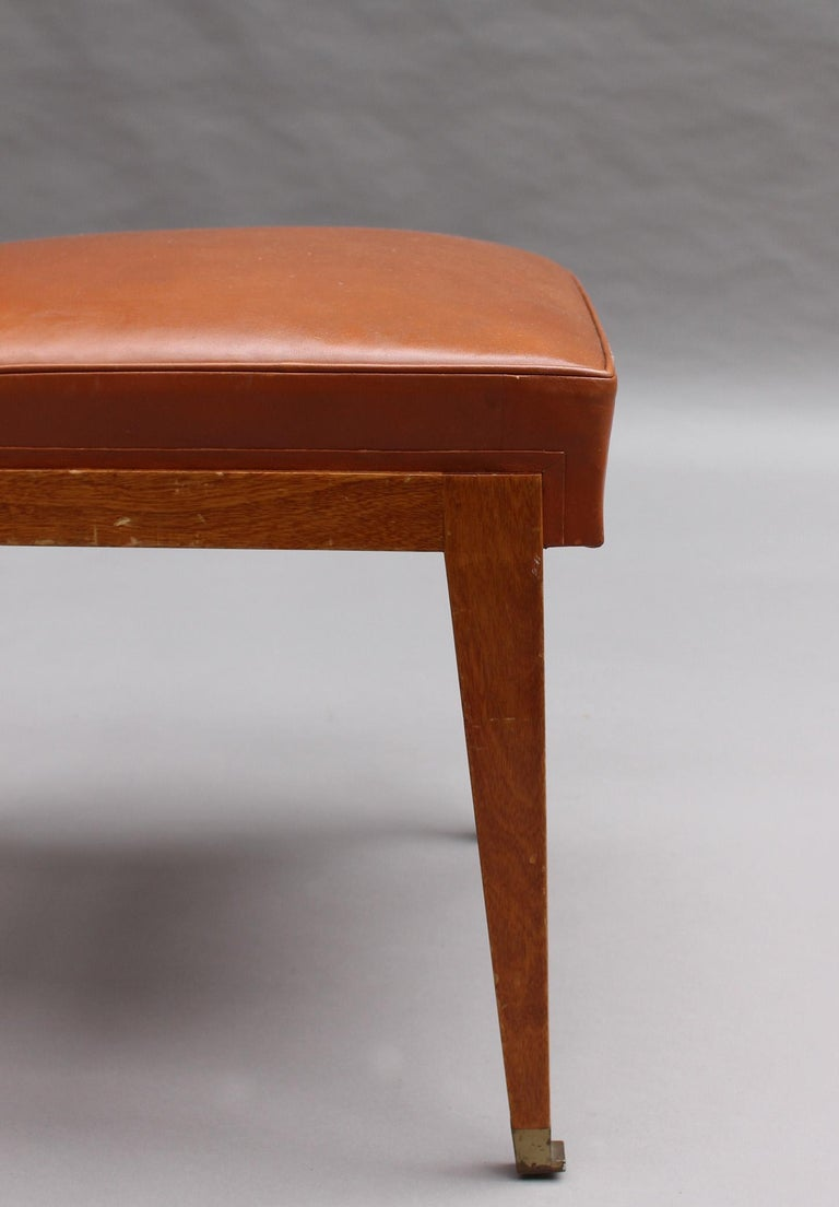 Rare Set of 10 Leather and Mahogany Chairs by Jacques Quinet For Sale 12