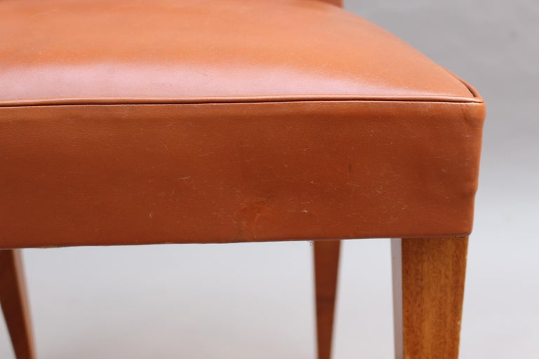 Rare Set of 10 Leather and Mahogany Chairs by Jacques Quinet For Sale 14