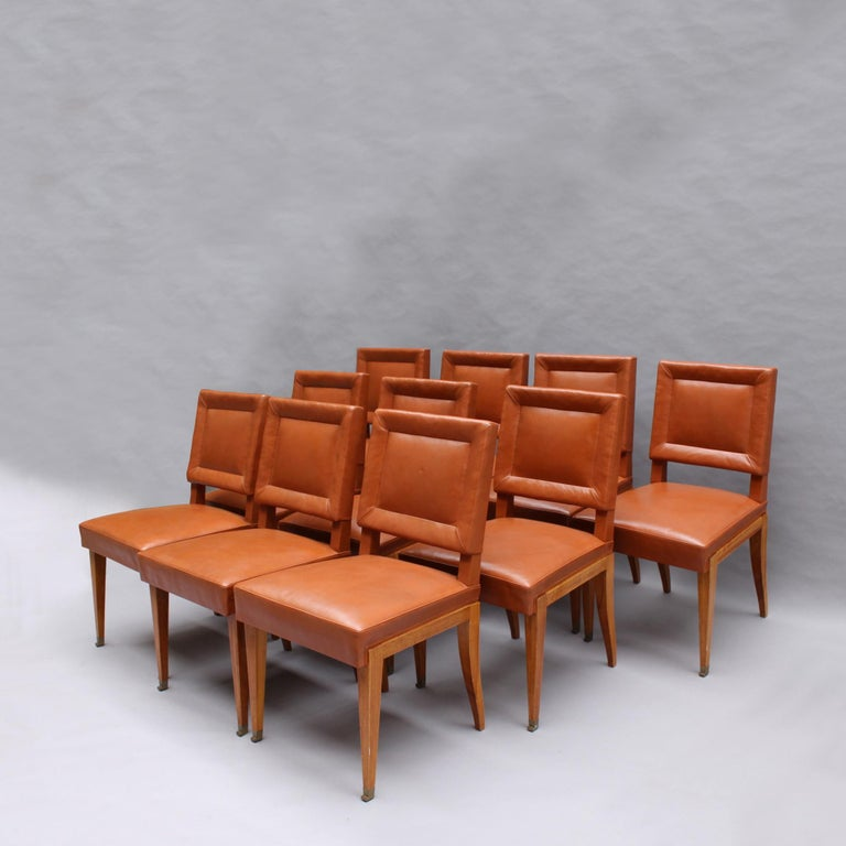 Mid-Century Modern Rare Set of 10 Leather and Mahogany Chairs by Jacques Quinet For Sale