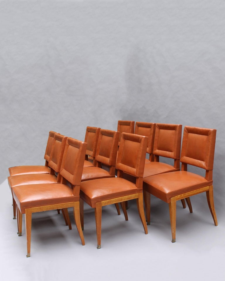 French Rare Set of 10 Leather and Mahogany Chairs by Jacques Quinet For Sale