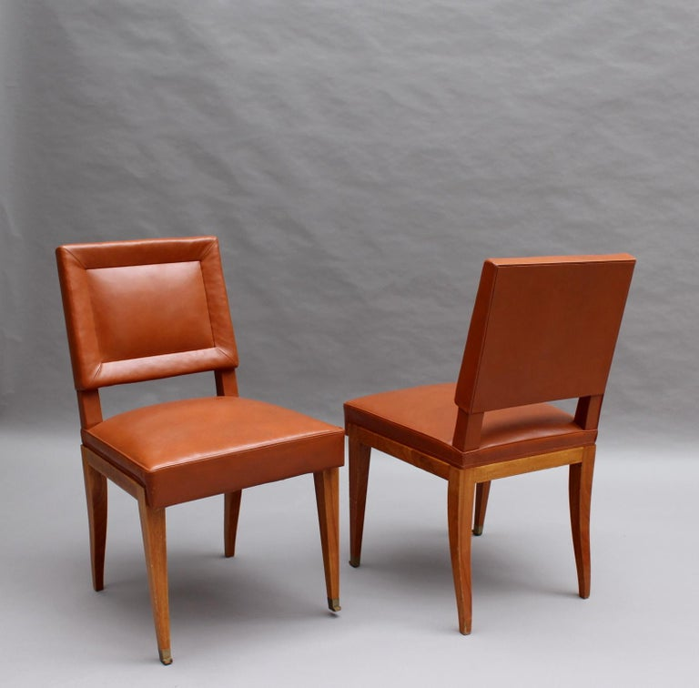 20th Century Rare Set of 10 Leather and Mahogany Chairs by Jacques Quinet For Sale