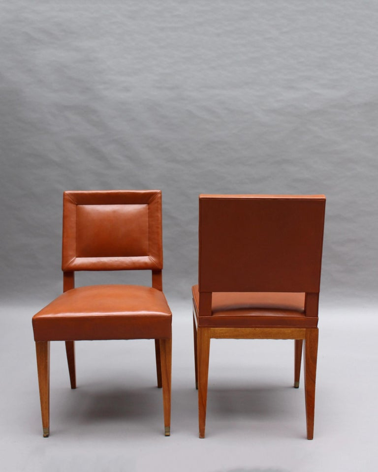 Rare Set of 10 Leather and Mahogany Chairs by Jacques Quinet For Sale 1