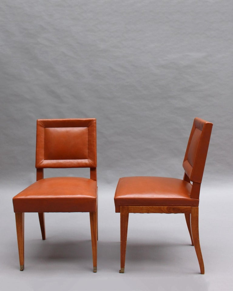 Rare Set of 10 Leather and Mahogany Chairs by Jacques Quinet For Sale 2