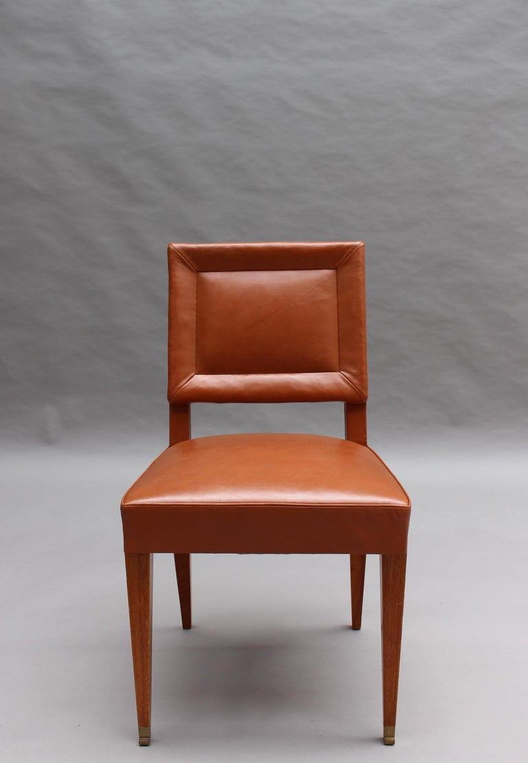 Rare Set of 10 Leather and Mahogany Chairs by Jacques Quinet For Sale 3