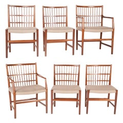 Rare Set of Six Hans Wegner Dining Chairs with Paper Labels