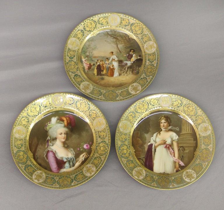 Rare Set of Twelve Late 19th Century German Dresden Porcelain Collector  Plates