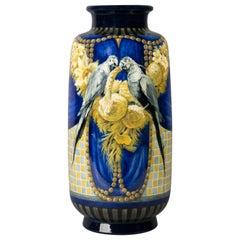 Rare Sevres Painted Porcelain Parrot Vase, circa 1925