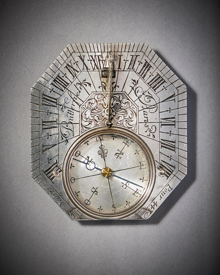 Louis XIV Rare Silver Pocket Sundial and Compass by Michael Butterfield, Paris, circa 1700 For Sale