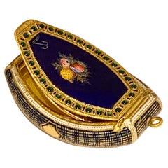 Rare Swiss Gold & Enamel Jewelled Vinaigrette Box Late 18th C