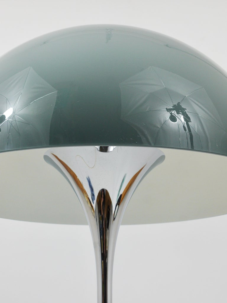 Danish Rare Verner Panton Chrome Base and Grey Shade Panthella Table Lamp For Sale