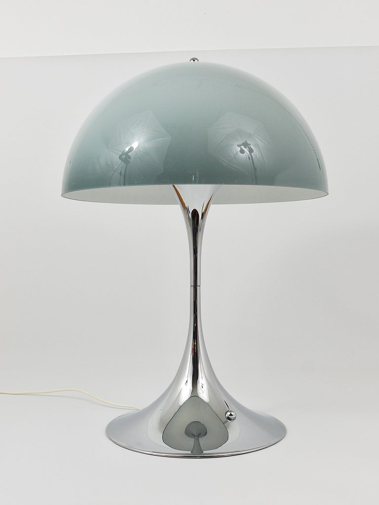 Rare Verner Panton Chrome Base and Grey Shade Panthella Table Lamp For Sale 2
