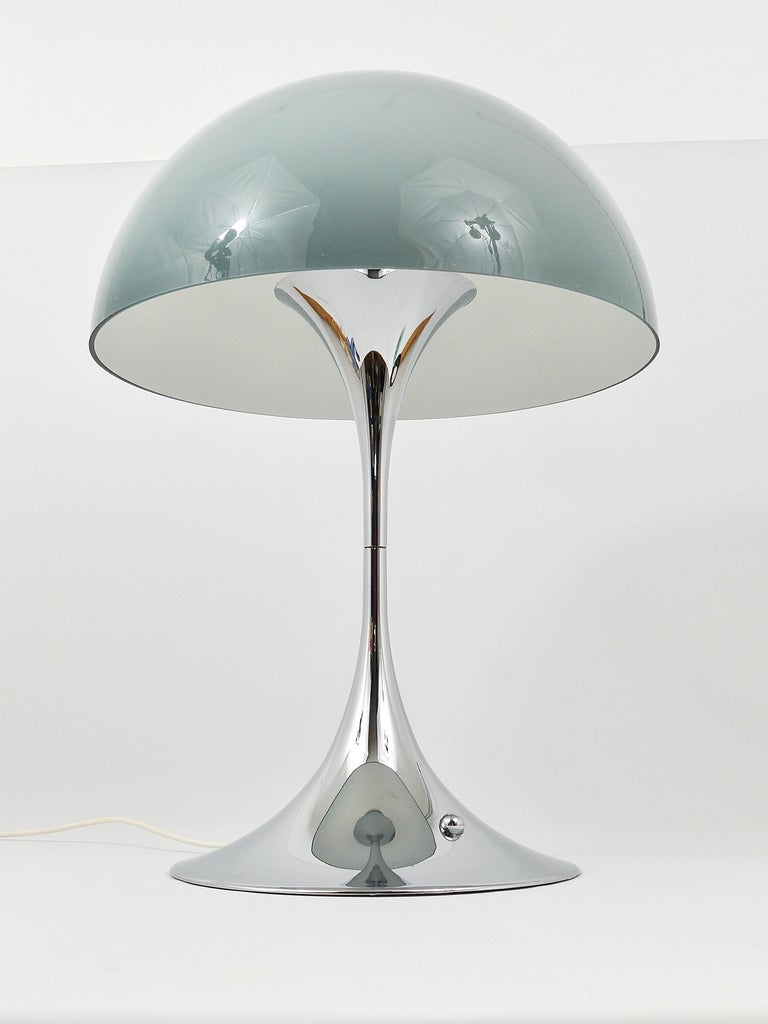 Rare Verner Panton Chrome Base and Grey Shade Panthella Table Lamp For Sale 3