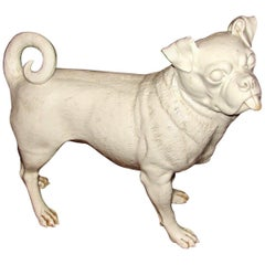 Rare Worcester Porcelain Figure of a White Pug Dog