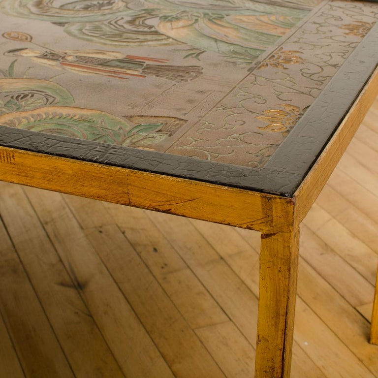 Brass Rectangular Coffee Table with Antique Chinoiserie Decorated Top For Sale