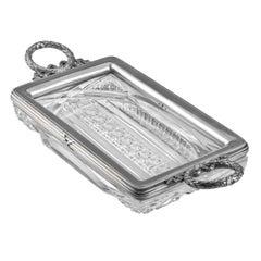 A Rectangular Fabergé Cut Glass & Silver Tray