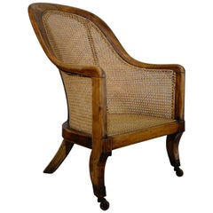 Regency 19th Century Caned Bergère Library Tub Chair, Gillows Manner