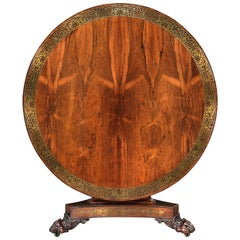 Regency Brass Inlaid and Rosewood Centre Table