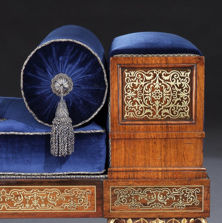 English Regency Brass Inlaid Daybed with Blue Velvet Upholstery For Sale