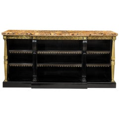 Regency Brass-Inlaid Ebonized Breakfront Bookcase