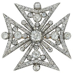 Regency Diamond Maltese Cross Pendant/Brooch