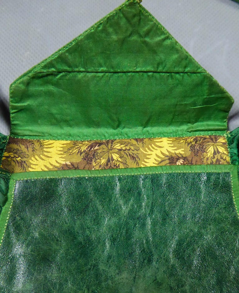 A Regency French Reticule Purse, leather and Chintz Early 19th century In Good Condition For Sale In Toulon, FR