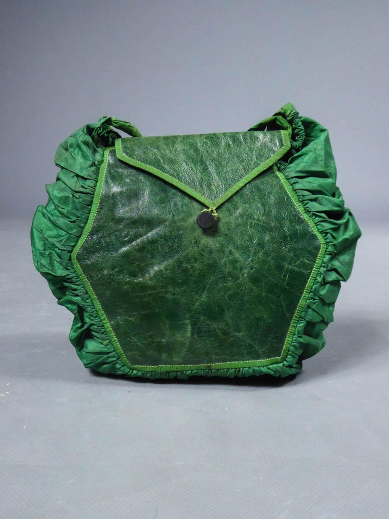 A Regency French Reticule Purse, leather and Chintz Early 19th century For Sale 3