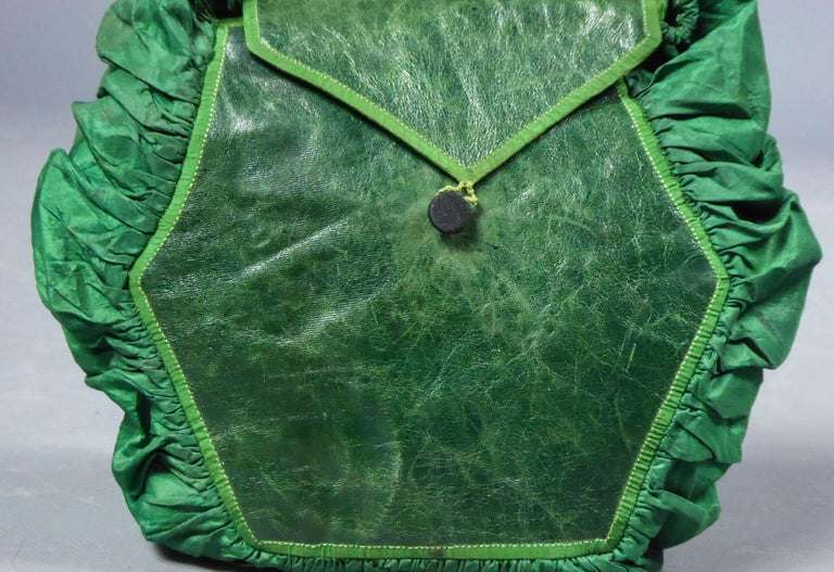 A Regency French Reticule Purse, leather and Chintz Early 19th century For Sale 4