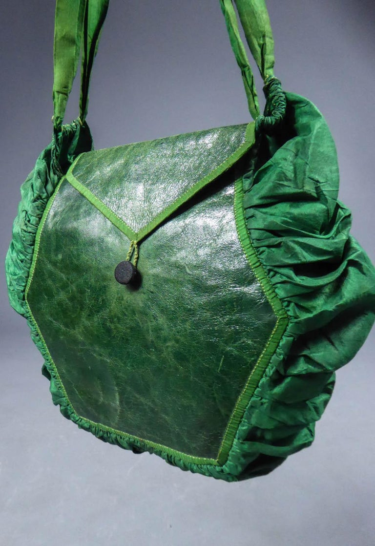 A Regency French Reticule Purse, leather and Chintz Early 19th century For Sale 5