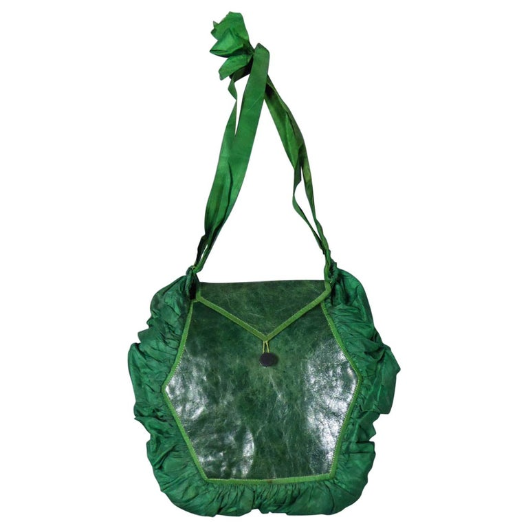 A Regency French Reticule Purse, leather and Chintz Early 19th century For Sale