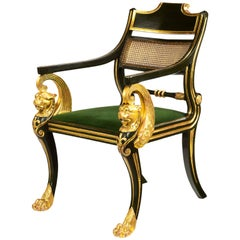 Regency Green-Painted and Parcel-Gilt Armchair, Designed by George Smith