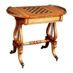 Regency Maplewood Lyre-End Games Table, circa 1825