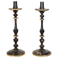 Regency Pair of Faux Marble Candle Torcheres