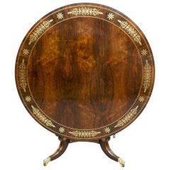 Regency Period Rosewood and Cut Brass Inlaid Centre Table, circa 1820