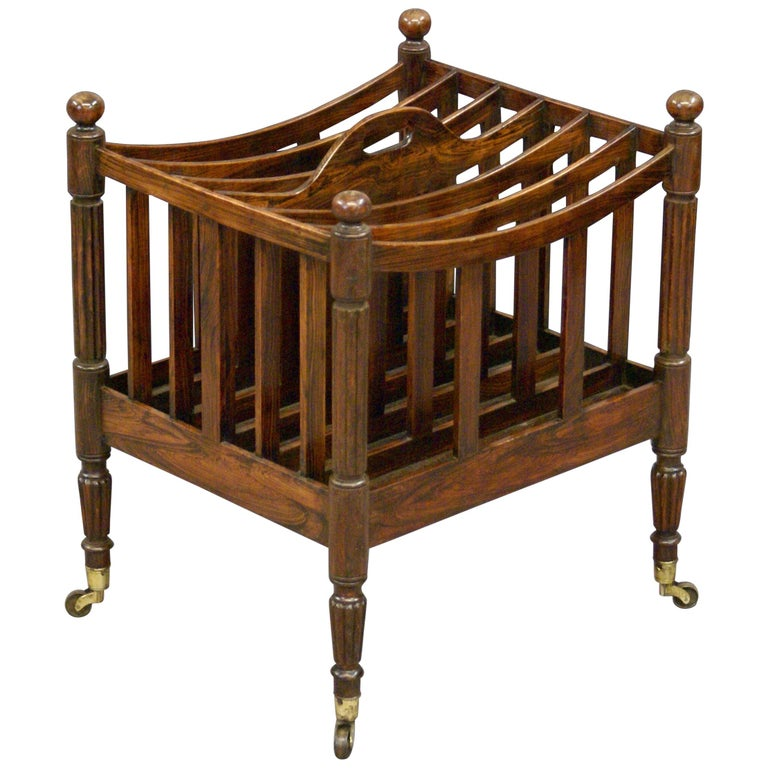 Regency Period Six Division Faux Rosewood Music Canterbury or Magazine Rack