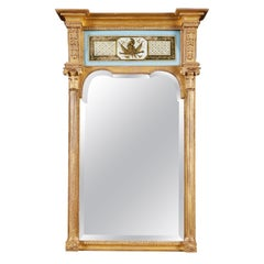 Regency Verre Eglomisé and Giltwood Rectangular Pier Mirror