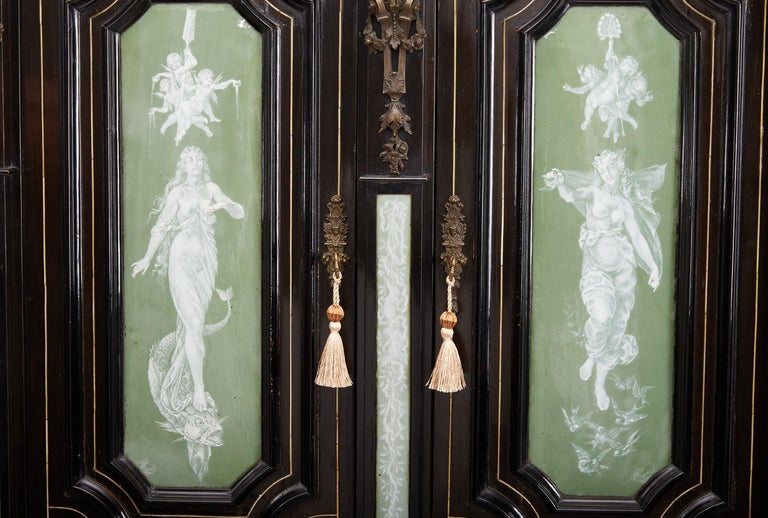 Renaissance Revival Ebonized Cabinet with Exquisite Enameled Copper For Sale 5