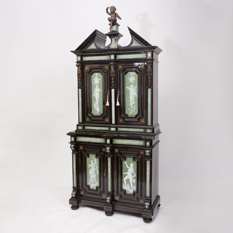 Renaissance Revival Ebonized Cabinet with Exquisite Enameled Copper For Sale 6
