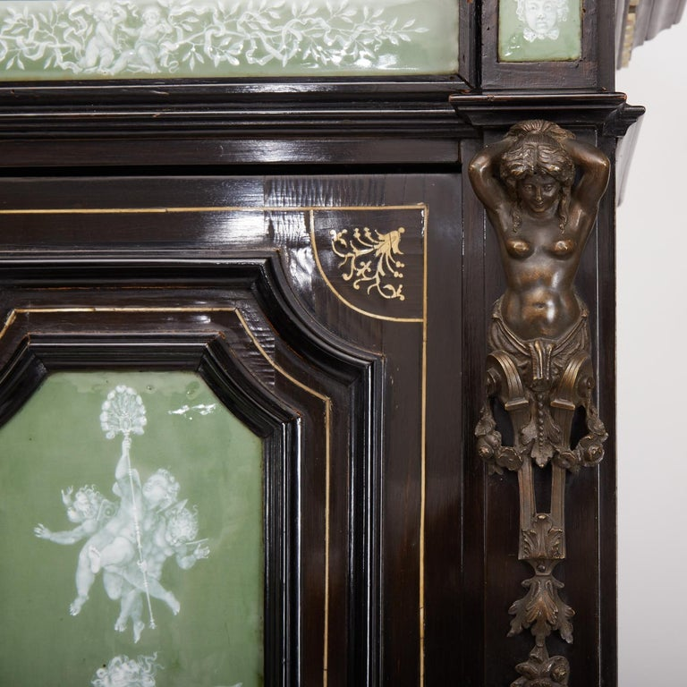 Renaissance Revival Ebonized Cabinet with Exquisite Enameled Copper In Good Condition For Sale In New York, NY