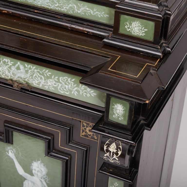19th Century Renaissance Revival Ebonized Cabinet with Exquisite Enameled Copper For Sale