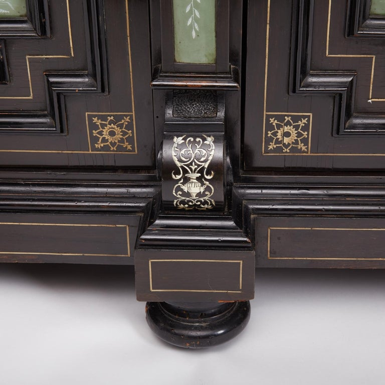 Renaissance Revival Ebonized Cabinet with Exquisite Enameled Copper For Sale 2