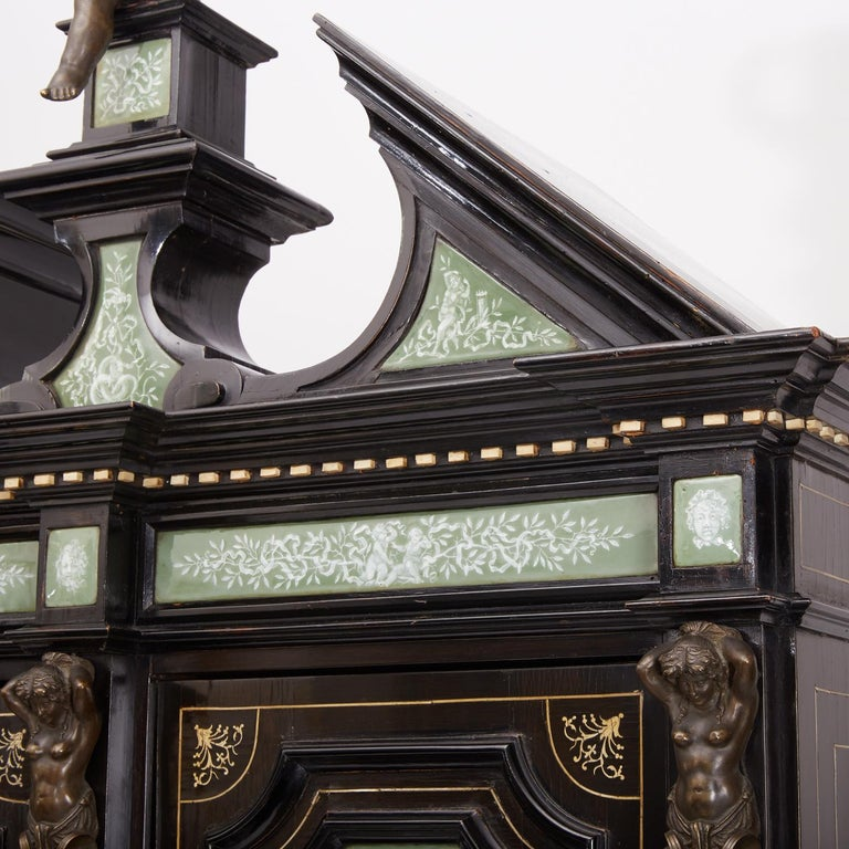 Renaissance Revival Ebonized Cabinet with Exquisite Enameled Copper For Sale 3